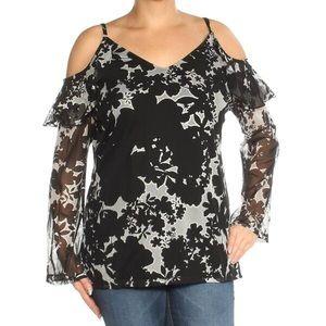 trendy black floral cold shoulder v-neck blouse🖤